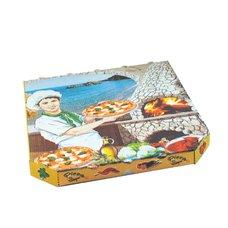 Pizza krabice 33x33x3cm - z vlnité lepenky / oblé hrany / 72033