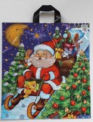 PE taška vánoční - Santa na saních 45x50cm