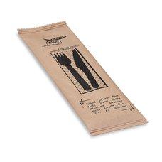 Sada dřevěných příborů (nůž + vidlička + ubrousek) hygienicky balené / 40021
