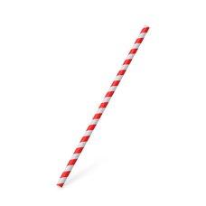 Slámky papírové JUMBO červená spirála 25 cm, prům. 8 mm  / 40701