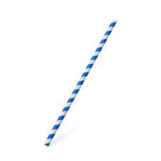 Slámky papírové JUMBO modrá spirála 25 cm, prům. 8 mm  / 40703