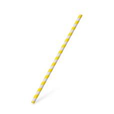 Slámky papírové JUMBO žlutá spirála 25 cm, prům. 8 mm  / 40705