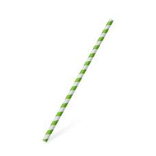 Slámky papírové JUMBO zelená spirála 25 cm, prům. 8 mm  / 40706