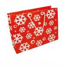 Papírová taška vánoční - Vločky 360x120x300 mm / lamino